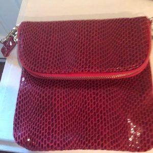 Beautiful snakeskin deep ruby clutch